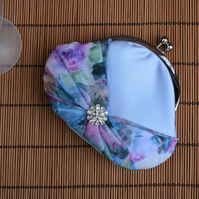 Blue Satin Diamante Evening Clutch Purse