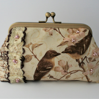 Cherry Blossom and Birds Clutch Purse with Swarovski Pearls Vintage Style