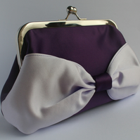 Deep Purple and Lilac Satin Bow Clasp Purse