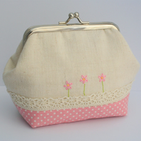 Pink Daisy and Lace Mini Clutch Purse