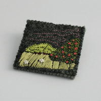 English Countryside Landscape Embroidered Brooch