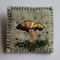 Mushroom in the Moss Embroidered Brooch