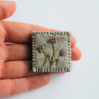 Wildflower Embroidered Textile Brooch