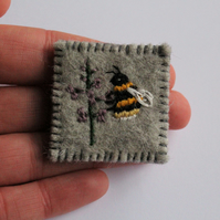 Bee and Blossom Embroidered Wildflower Felt Brooch