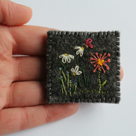 Whimsical Flowers and Butterfly Embroidered Wool Felt Brooch