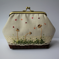 Mushrooms and Moss Autumnal Textile Art Mini Clutch