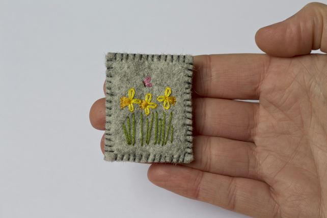 Spring Daffodils and Butterfly Embroidered Wool Felt Brooch