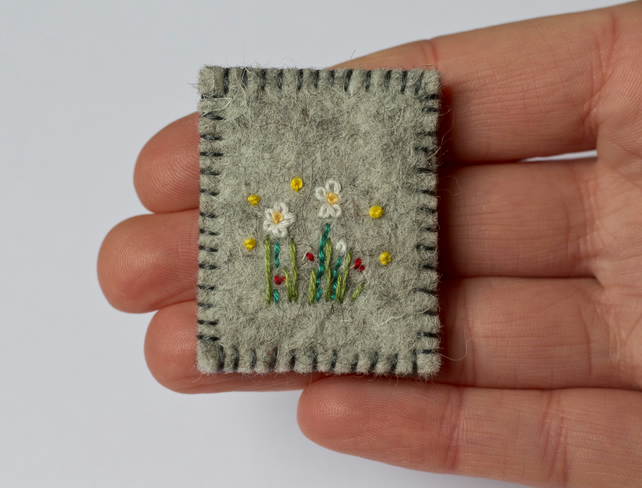 Wildflowers Textile Art Embroidered Wool Felt Brooch