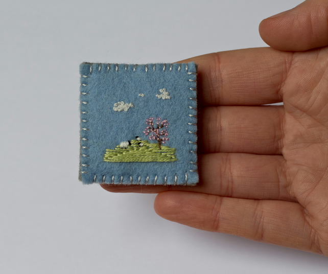 Sheep and a Cherry Blossom Tree Embroidered Landscape Brooch