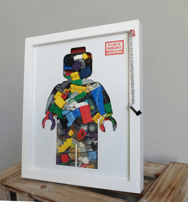 Emergency Lego Man - Minifigure filled Lego supply wall hanging