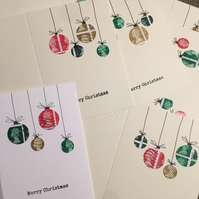Bauble Postage Stamp Christmas Card (pack of 5)