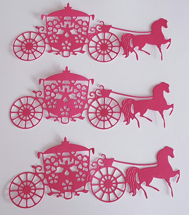 6 STUNNING PINK HORSE & CARRIAGE DIE CUTS