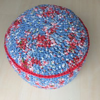 Multicoloured pinky red, blue 'Cath Kidston style' pouffe pouf ottoman footstool