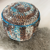 Swirly multicoloured brown and turquoise blue pouffe pouf ottoman footstool