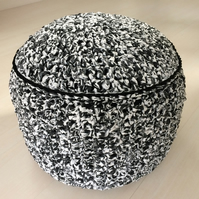 Monochrome black grey and white pouffe pouf ottoman footstool