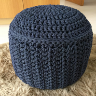 Denim blue crocheted pouf pouffe ottoman footstool with solid base