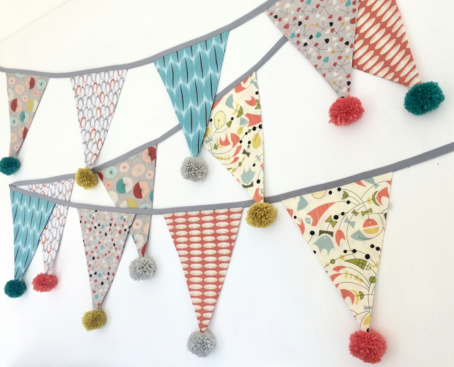 Retro vintage style pom pom bunting in orange, grey, teal, cream and mustard
