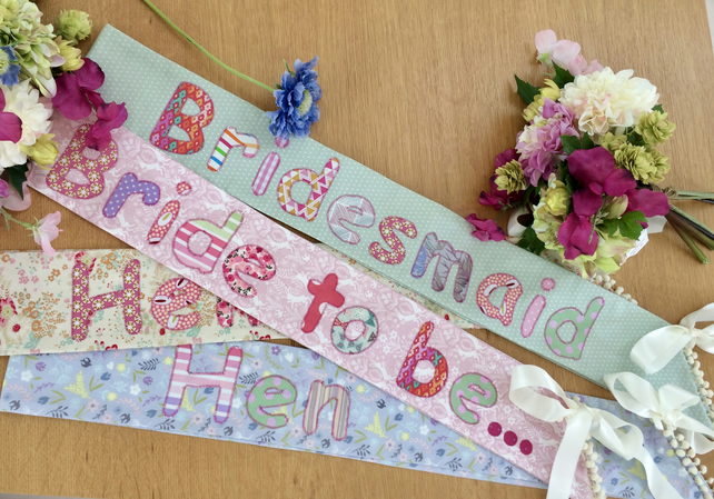 Hen party cotton sash for bride to be, bridesmaids & hens from 12.50  each