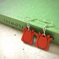 Tulip Earrings, wooden laser cut