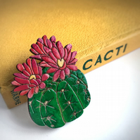Brooch: Cactus Flower, wooden laser cut