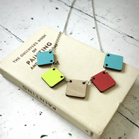 Colour Swatch Necklace, wooden laser cut