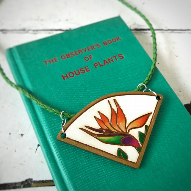 Necklace: Bird of Paradise (1), wooden laser cut