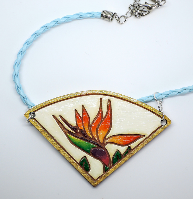 Necklace: Bird of Paradise (2), wooden laser cut