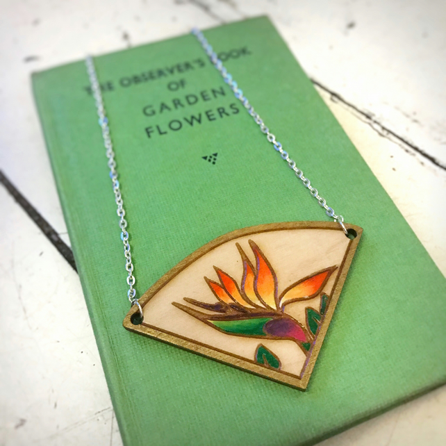 Necklace: Bird of Paradise (3), wooden laser cut