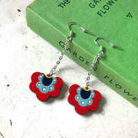 Earrings: Polish Folk Flower (Red, with chain), wooden laser cut