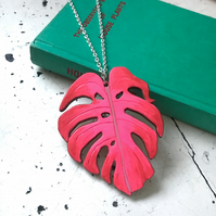 Necklace: Monstera Leaf, wooden laser cut, NEON PINK