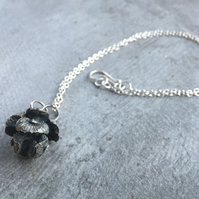 Pine Cone Oxidised Sterling Silver Pendant
