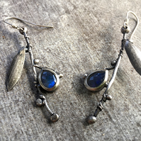 Silver Twig and Labradorite Earrings