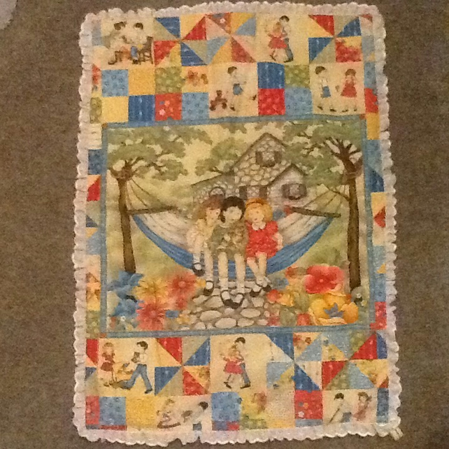 Pram quilt topper - vintage patterned fabric