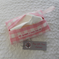"Tissue Holder- Case with ""Nanny I love you"" label"