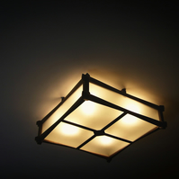 Original Wooden Ceiling Fixture, Ceiling Lamp, Handmade in London, Asian Style.