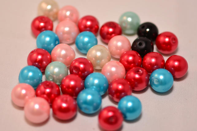 75 Multicoloured Glass Pearl Beads 9.5mm