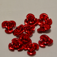100 Red Aluminium Flower Beads 12mm