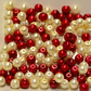 100 Red and White Bead Mix 4mm