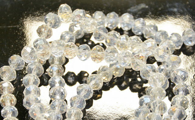 148 Faceted Rondelle Crystal Glass Beads AB - 4mm