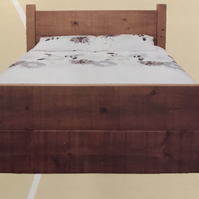SOLID WOOD RUSTIC PLANK WOOD DOUBLE BED