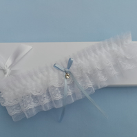 White wedding garter, something blue garter, tulle garter
