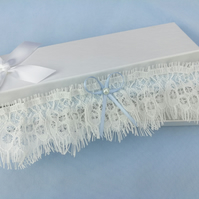 Ivory eyelash lace wedding garter, something blue wedding garter, pearl garter