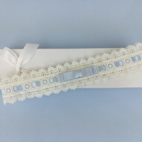 Ivory eyelet lace garter, wedding garter, something blue garter