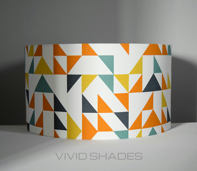 British geometric fabric, handcrafted lampshade made in England by vivid shades