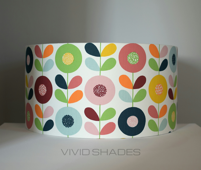 Genuine Scandinavian fabric covered lampshades, funky geometric pattern