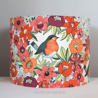 Floral bird fabric covered lampshade, tropical botanical flower pattern