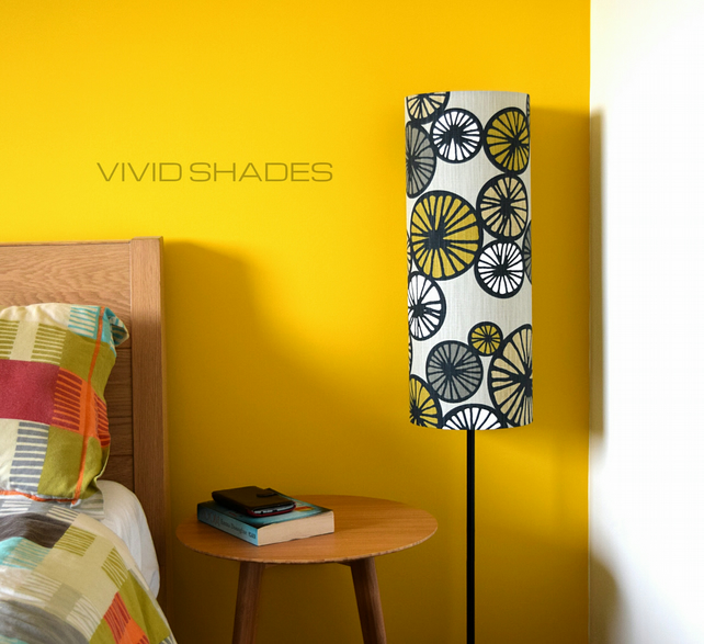 Tall lampshade with floor lamp base option, genuine Scandinavian retro fabric