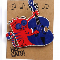 Double bass cat brooch