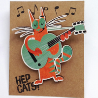 Guitar cat brooch