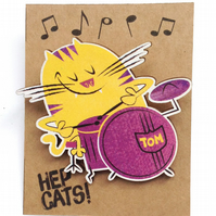 Drummer cat brooch
